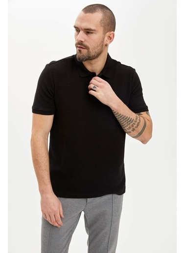 DeFacto Regular Fit Basic Polo T-Shirt Siyah